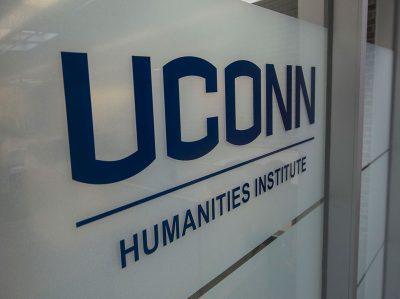 humanities wordmark on window