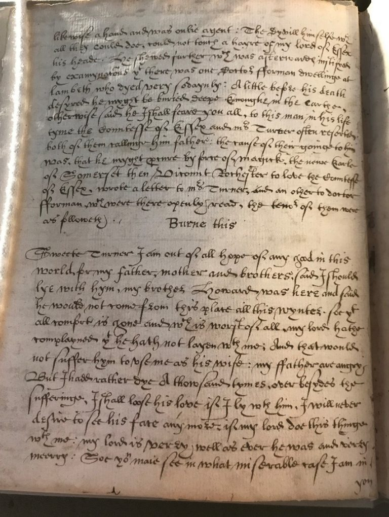 Figure 2: Manuscript transcription of the arraignment of Anne Turner, including Frances Howard's letter to Turner.