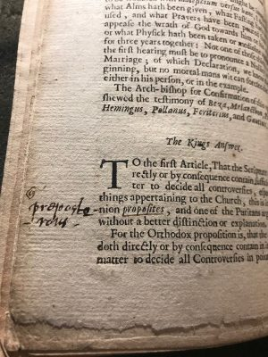 Figure 3:Page from A True and Historical Relation of the Poysoning of Sir Thomas Overbury (B4) with marginal commentary.