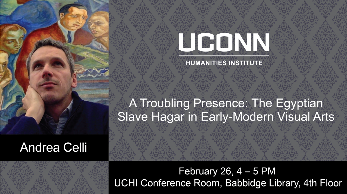 Andrea Celli headshot, with the UCHI logo, the title of his talk, and the time and date of his presentation