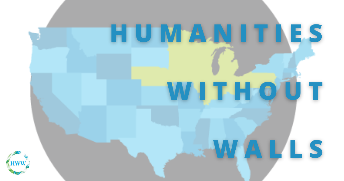 Humanities Without Walls in front of a map of the United States