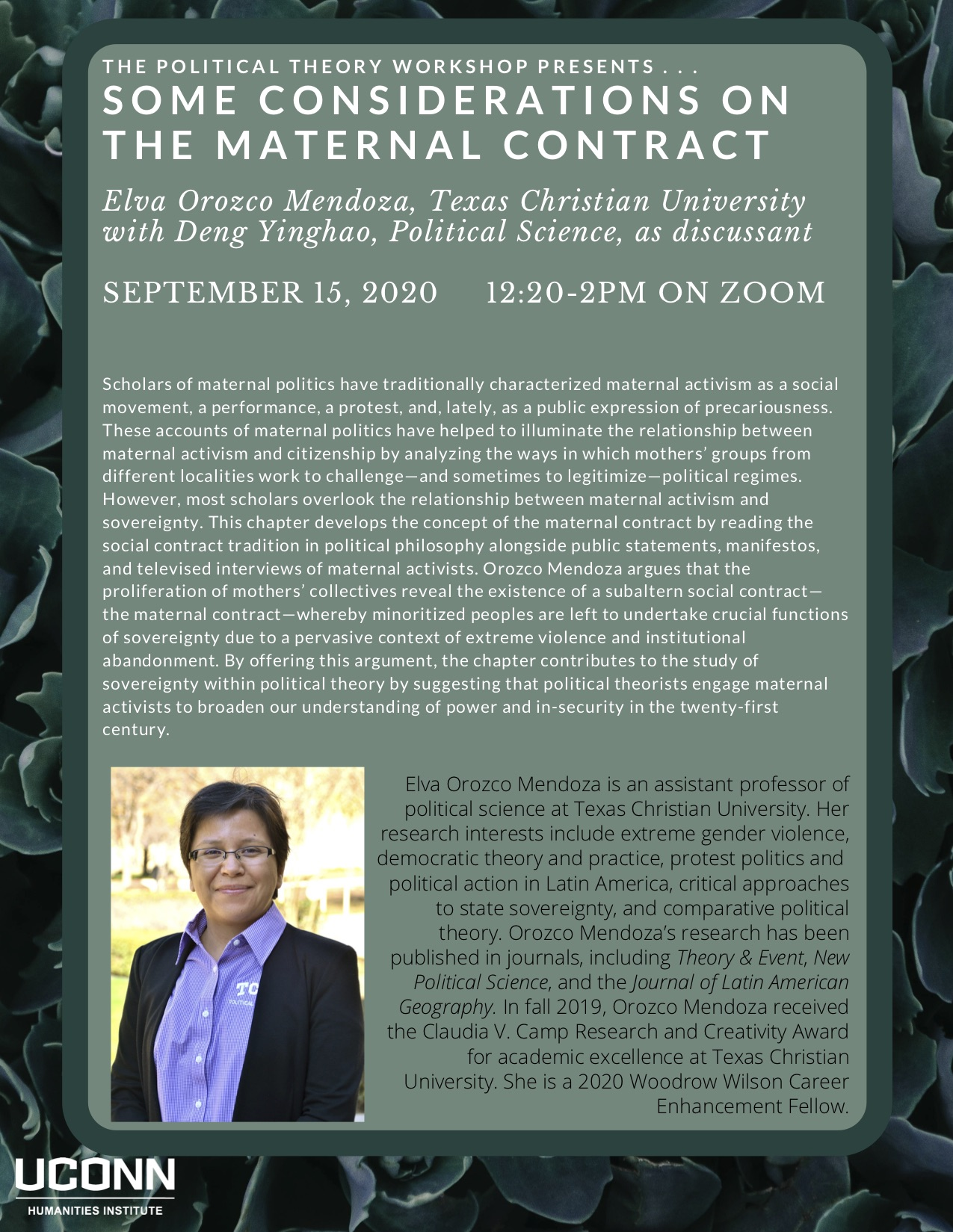 Poster with same text as above and image of Elva Orozco Mendoza.