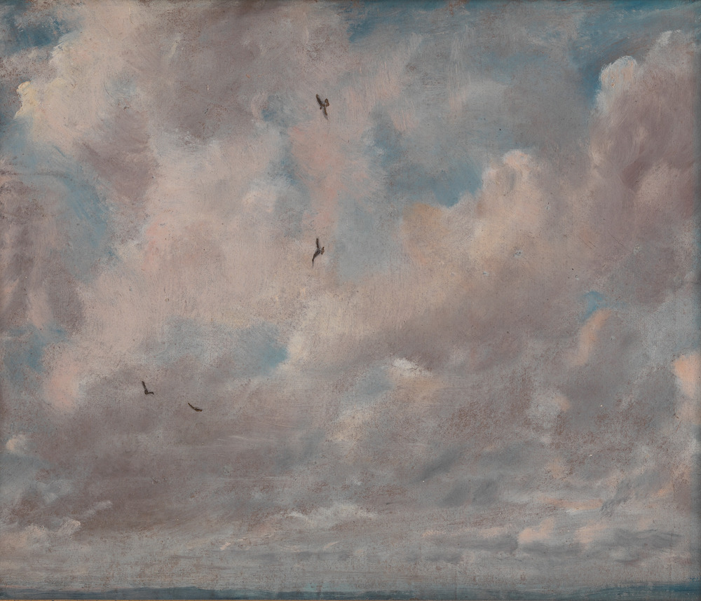 A painting of clouds over a blue sky, with some small birds flying through them.