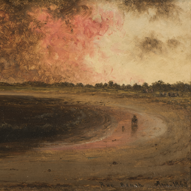 A painting of a dark curving beach, the water almost black. In the yellow sky, red and black clouds loom.
